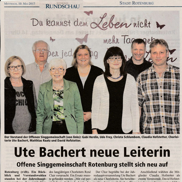Ute Bachert Rotenburger Rundschau 10.05.2017